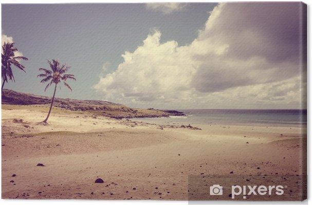 Quadro Su Tela Palme Sulla Spiaggia Di Anakena Isola Di Pasqua