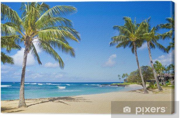Quadro su Tela Palme sulla spiaggia di sabbia in Hawaii - Palme