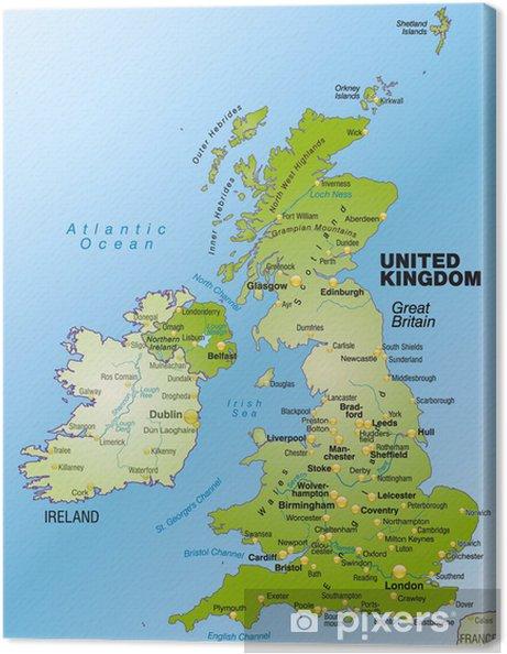 Gran Bretagna Cartina.Quadro Su Tela Panoramica Mappa Di Gran Bretagna E Irlanda Del Nord E Le Zone Circostanti
