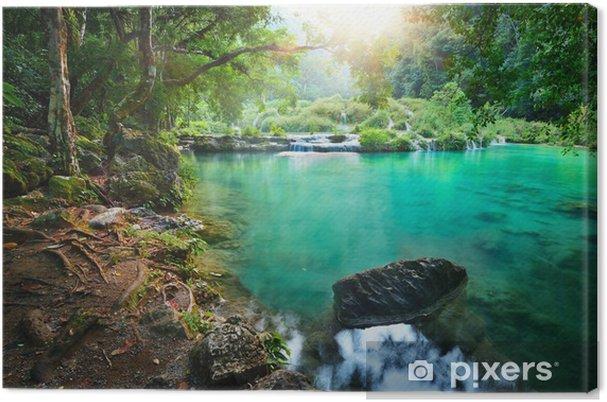 Quadro su Tela Parco Nazionale Cascades in Guatemala Semuc Champey al tramonto. - Giungla