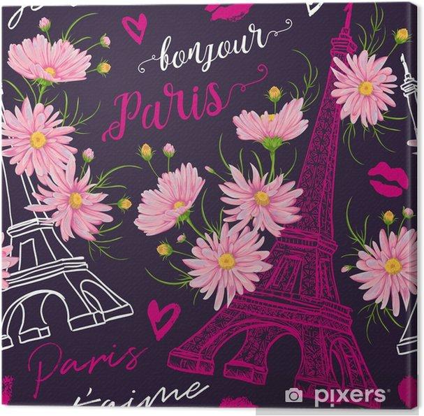 Quadro Su Tela Parigi Modello Vintage Senza Soluzione Di Continuità Con La Torre Eiffel Baci Cuori E Fiori Di Camomilla Rosa In Stile Acquerello