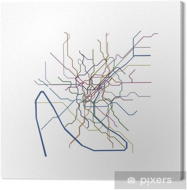 Quadro su Tela Paris mappa della metropolitana - Città europee