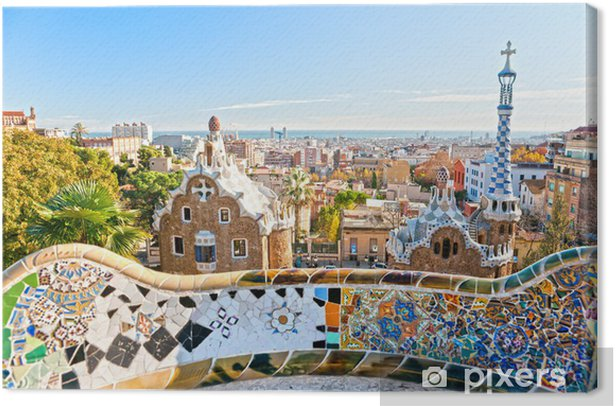 Quadro su Tela Park Guell di Barcellona, Spagna. - Temi