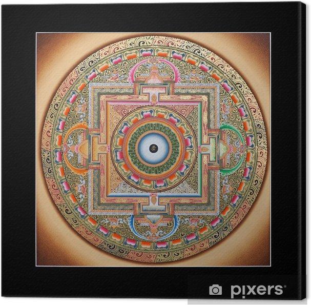 Quadro su Tela Parte interna del tibetano antico Tangka Ohm Mandala su nero - Religioni