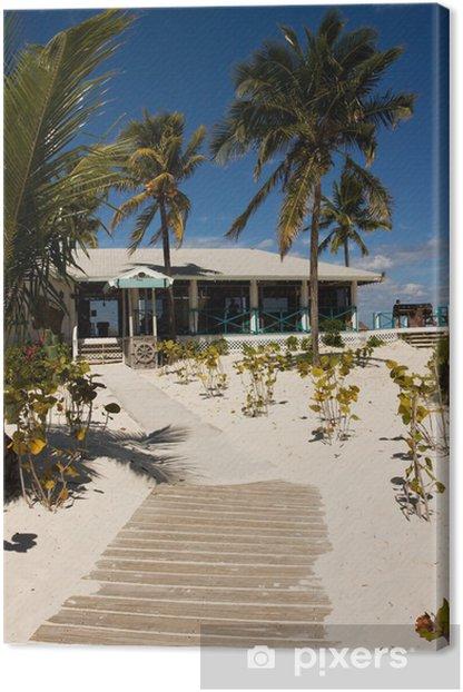 Quadro su Tela Percorso di legno che porta al bar sulla spiaggia tropicale - Acqua