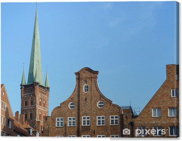 Quadro su Tela Petri Kirche und Lübeck historische Wohnhäuser - Industria pesante