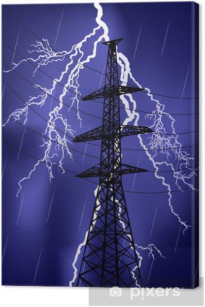 Quadro su Tela Pilone elettrico sotto temporale - Edifici Industriali e Commerciali