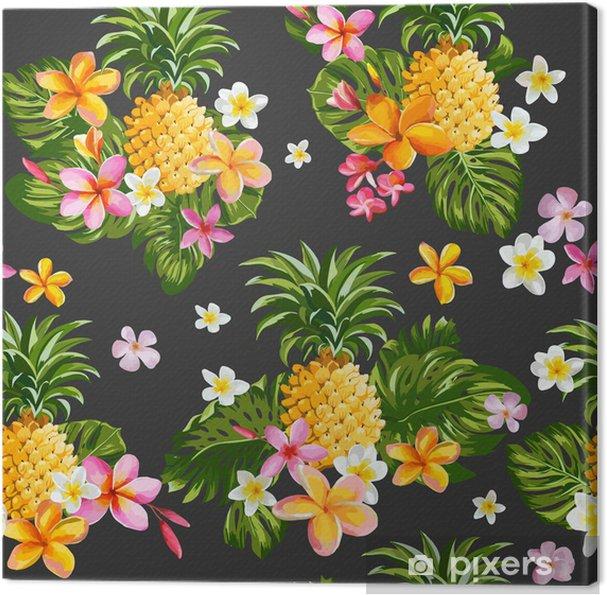 Quadro Su Tela Pinapples E Fiori Tropicali Sfondo Vintage Seamless