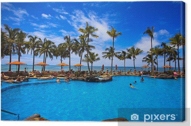 Quadro su Tela Piscina sulla spiaggia di Waikiki, Hawaii - Temi