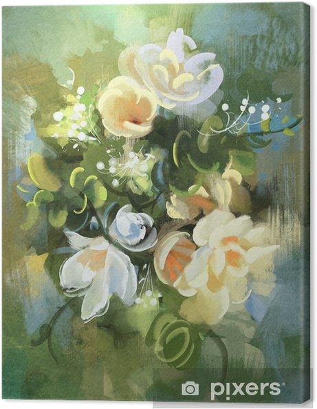 Quadro su Tela Pittura digitale di fiori astratti colorati ...