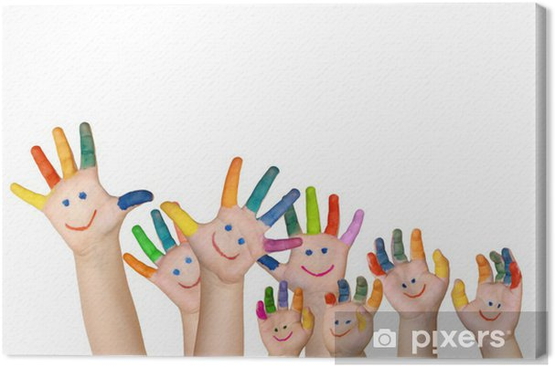 687db4ce66 Quadro su Tela Più mani dipinte una per bambini