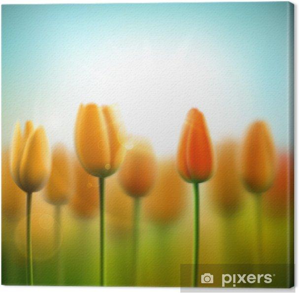 Quadro su Tela Primavera sfondo con tulipani • Pixers® - Viviamo per ...