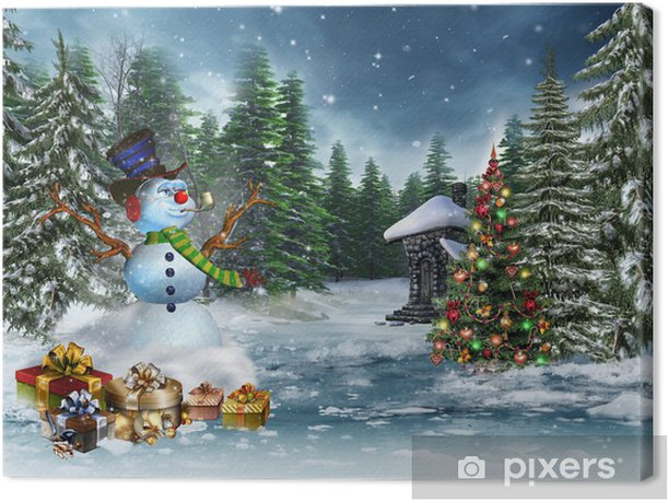 Foto Con La Neve Di Natale.Quadro Su Tela Pupazzo Di Neve Con Regali Di Natale E Un Albero Di Natale Colorata Pixers Viviamo Per Il Cambiamento