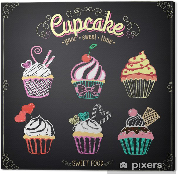Quadro Su Tela Raccolta Cupcake Sfarinamento Disegno A Mano Libera