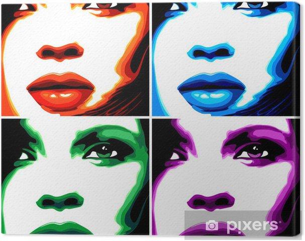 Quadro Su Tela Ragazza Viso Donna Donna Pop Art 4 Colori Stilizzato