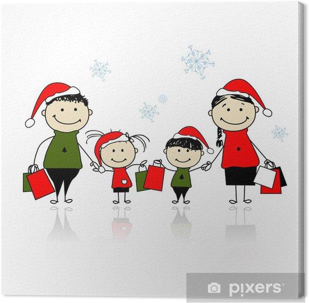 Regali Di Natale Famiglia.Quadro Su Tela Regali Di Natale Famiglia Con Borse Della Spesa