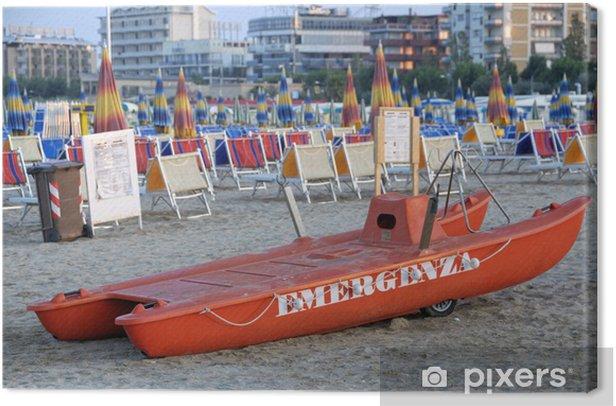 Quadro su Tela Rescue scialuppa di salvataggio sulla spiaggia di Rimini, Emilia-Romagna, Italia - Vita
