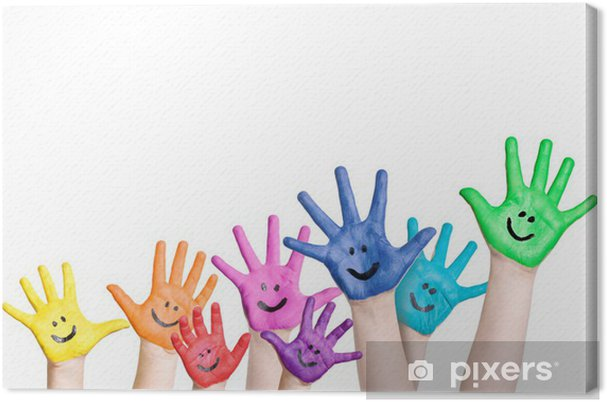 cfff2d4253 Quadro su Tela Ridendo le mani dei bambini nei colori arcobaleno