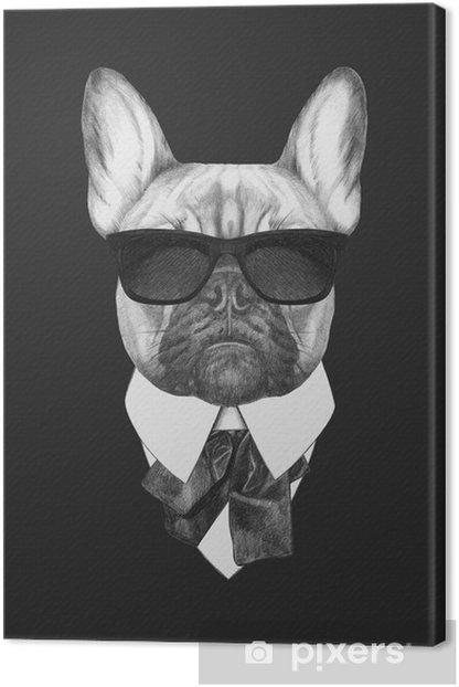 Quadro su Tela Ritratto di Bulldog francese in tuta. illustrazione disegnata a mano. - Bulldog Francesi