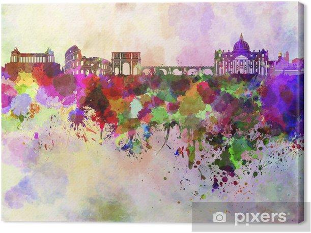 Quadro su Tela Roma skyline in sfondo acquerello - Temi
