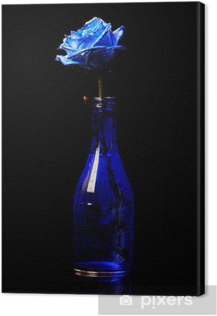 Quadro Su Tela Rosa Blu In Un Vaso Blu Su Sfondo Nero Pixers