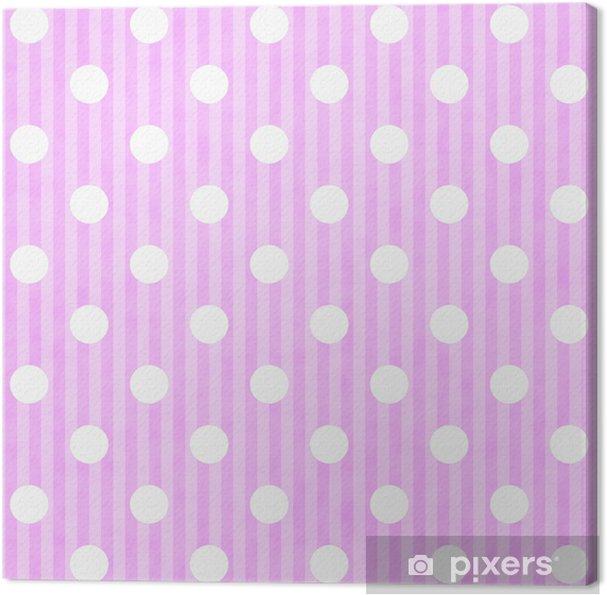 Quadro Su Tela Rosa E Bianco A Pois E Strisce Di Sfondo Tessuto