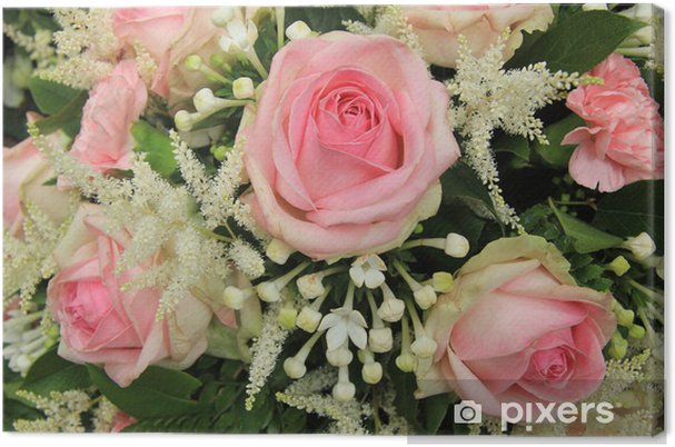 Bouquet Sposa Gelsomino.Quadro Su Tela Rose Rosa E Gelsomino Del Madagascar In Bouquet Da Sposa