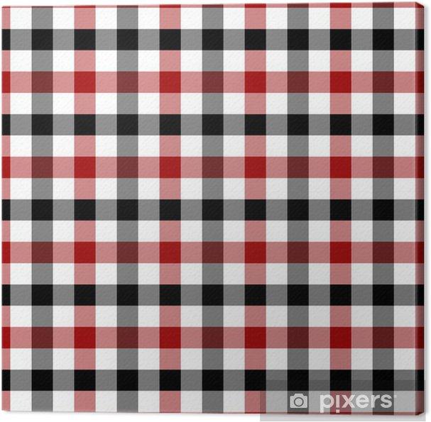 Quadro Su Tela Rosso Bianco E Plaid Sfondo Tessuto Nero Pixers
