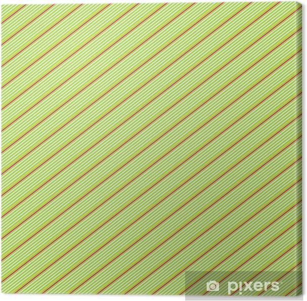 Quadro Su Tela Rosso E Bianco Gessato Diagonale Su Sfondo Verde