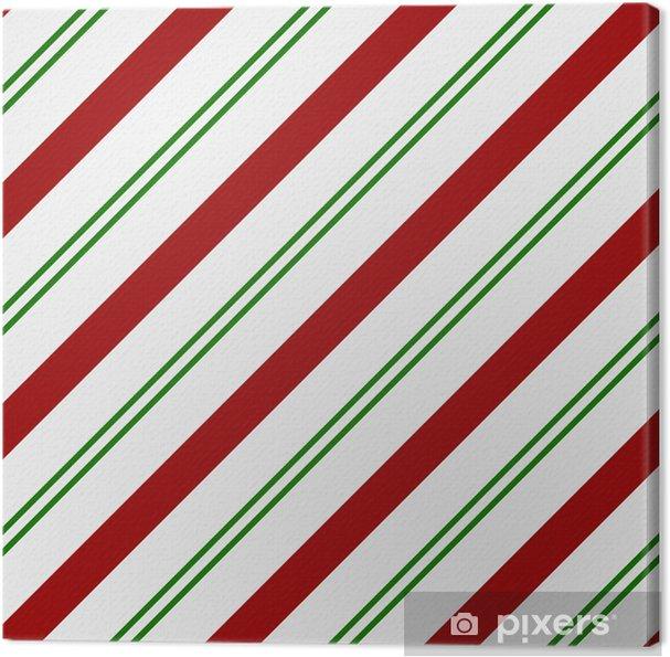 Quadro Su Tela Rosso Verde E Sfondo Bianco Tessuto A Righe Pixers