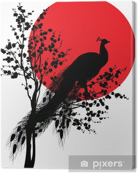 Quadro su Tela Sagoma nera di pavone a sole rosso su bianco - Uccelli