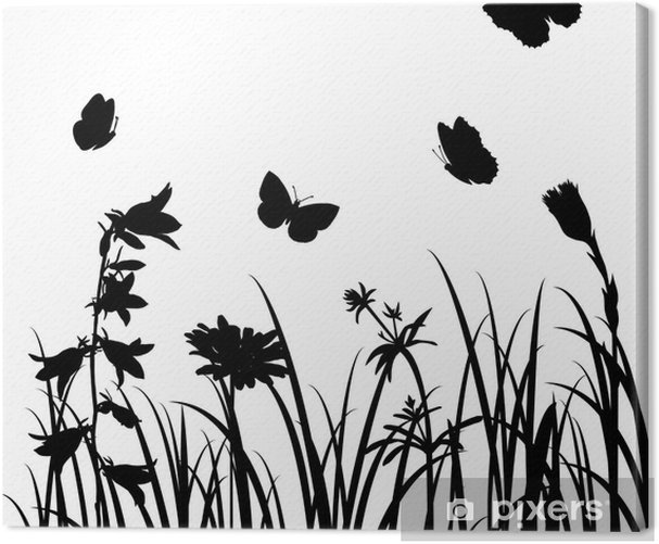 Quadro Su Tela Sagome Di Fiori E Farfalle Pixers Viviamo Per
