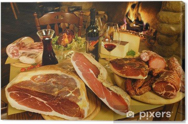 Quadro su tela salumi e formaggi prosciutto spek lonza salame