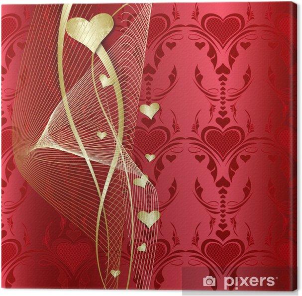 Quadro su Tela San Valentino con cuori dorati • Pixers® - Viviamo ...