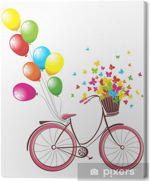 Quadro Su Tela Scheda Di Compleanno Romantico Bicicletta Con Palloncini E Cesto