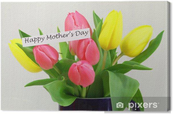 Quadro su Tela Scheda felice festa della mamma con tulipani colorati ...