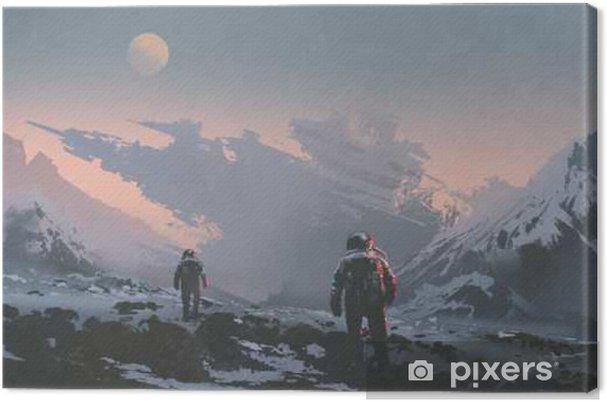 Quadro su Tela Sci-fi concetto di astronauti che camminano verso la nave spaziale disegnata sul pianeta alieno, illustrazione pittura - Hobby e Tempo Libero