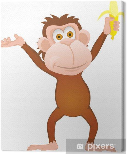 Quadro su tela scimmia divertente cartone animato con la banana