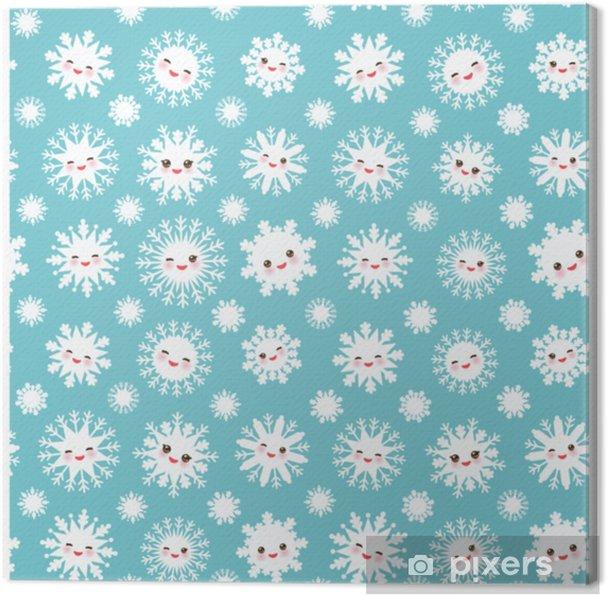Quadro Su Tela Seamless Kawaii Snowflake Set Bianco Faccia Buffa