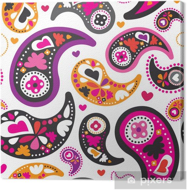 Quadro su Tela Seamless orientale persiano paisley pattern di sfondo in formato vettoriale - Stili