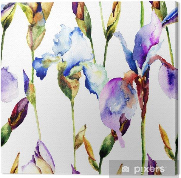 Quadro su Tela Seamless pattern con fiori Iris • Pixers® - Viviamo ...