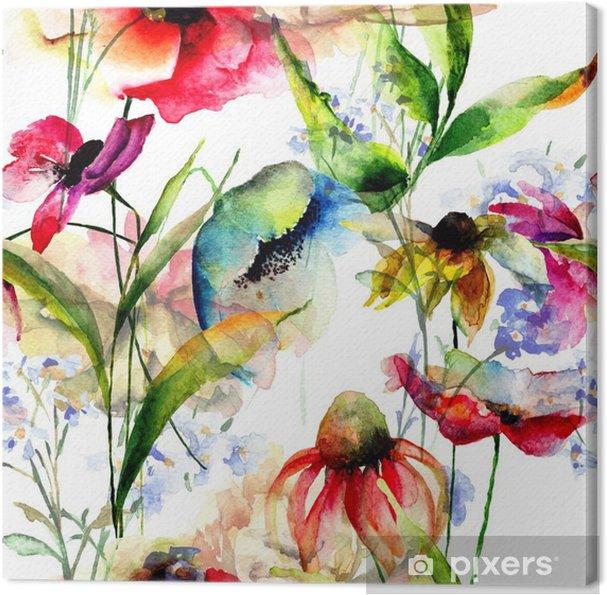 Quadro su Tela Seamless pattern con fiori stilizzati