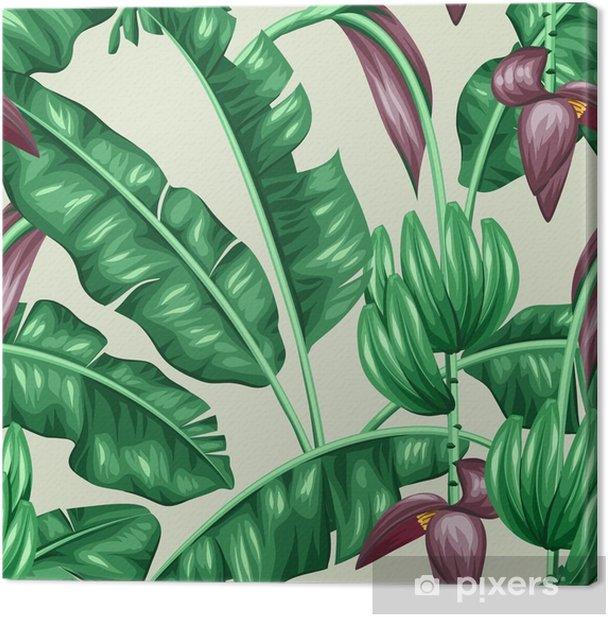 Quadro su Tela Seamless pattern con foglie di banano. Immagine decorativa di fogliame tropicali, fiori e frutti. Sfondo fatto senza maschera di ritaglio. Facile da usare per sfondo, tessile, carta da imballaggio - Piante & Fiori