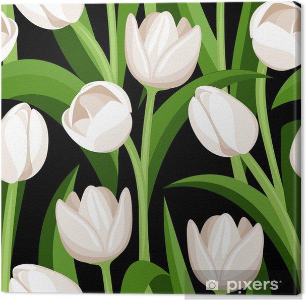 Quadro su Tela Seamless pattern con tulipani bianchi su fondo nero ...