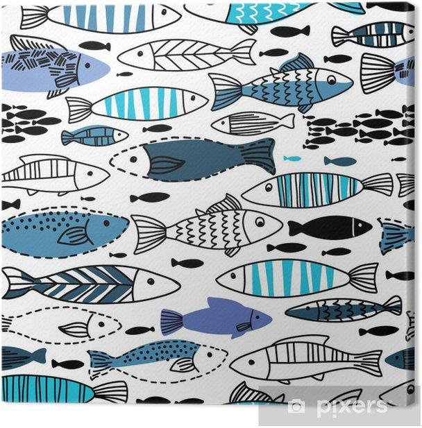 Quadro su Tela Seamless sottomarino con pesci. Seamless pattern può essere utilizzato per sfondi, sfondi delle pagine web - Animali