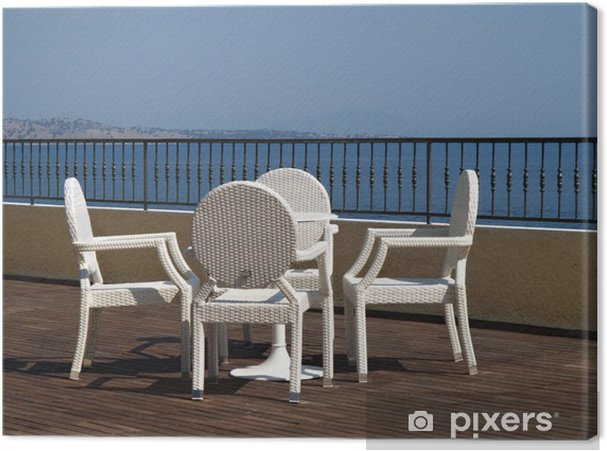 Sedie In Vimini Bianche.Quadro Su Tela Sedie Di Vimini Bianche E Tavolo Su Una Terrazza In Legno O Patio