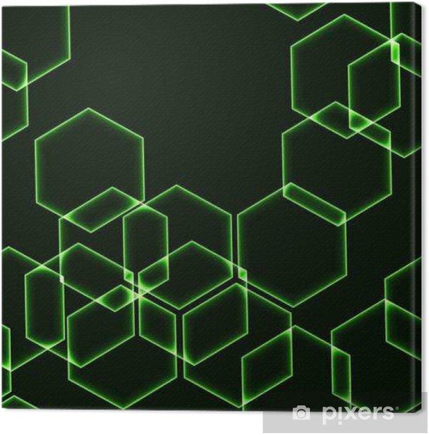 Quadro su Tela Senza soluzione di sfondo molto scuro con esagoni verdi - Risorse Grafiche