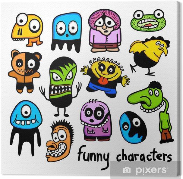Quadro Su Tela Set Di Divertenti Personaggi Dei Cartoni Animati