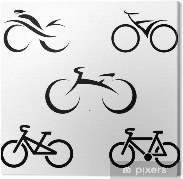 Quadro Su Tela Set Di Icone Con Le Bici Stilizzate Illustrazione Vettoriale