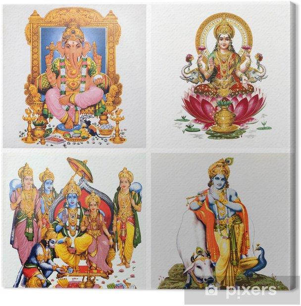 Quadro su Tela Set di mattonelle antiche con immagini di divinità indù: (Gansha, Lakshm -